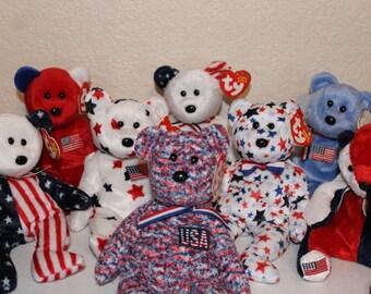 Ty Beanie Babies Patriotic Bears Set Of 8