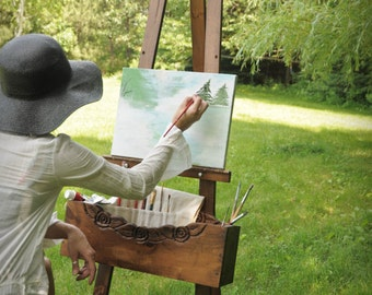 Artist painting easel woodworking plan.