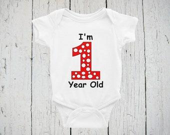 Birthday Onesie/Bodysuit, 1 Year Old Onesie/Bodysuit, I'm One Year Old Onesie/Bodysuit