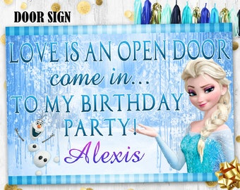 Elsa Door sign Frozen birthday door sign Printable digital door sign