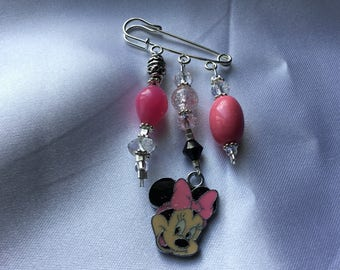 Pink Minnie Mouse brooch