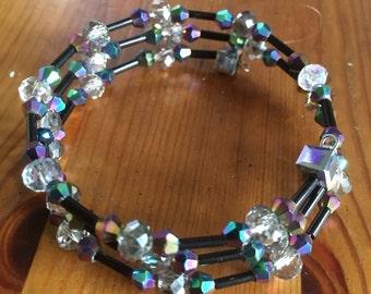 Metallic & Black Memory Wire Bracelet