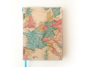 Handmade vintage map A5 hardcover notebook for Bullet Journal