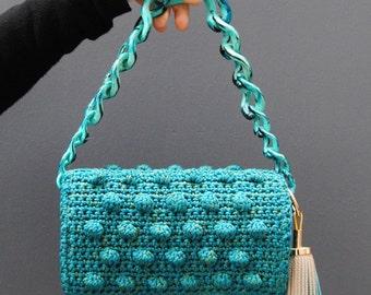 Jade blue bobble crochet bag