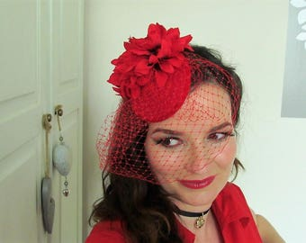 Vintage Inspired, 1940/1950 Style Red Fascinator with Veiling