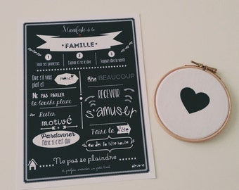 Clear black and white family - a family happy and fulfilled life principles - nice typography