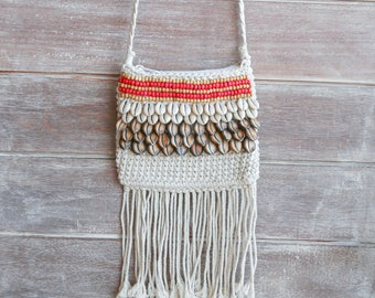 crochet bag, hippie bag, festival bag, shoulder bag, fringe bag, boho bag, shell bag, beach bag, hobo bag
