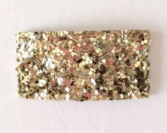 Pale gold glitter snap clip OR alligator clip