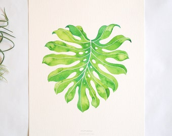 Large Monstera Print - Watercolor Monstera Leaf, 11x14
