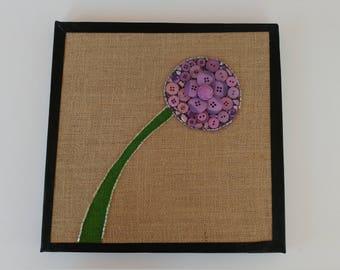 Purple Button Flower on Burlap Canvas