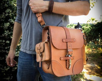 Leather Satchel | Modular | Russet Vegetable Tanned Leather | Handmade |  USA Made | Made To Order