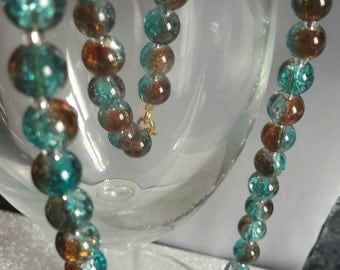 Womens beaded necklace, turquoise necklace, girls beaded necklace, beaded jewelry set, ladies jewelry