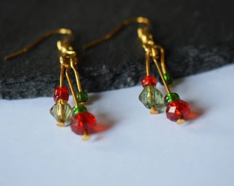 Green and Red Crystal Gold Plated Dangle Earrings