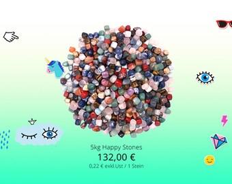 5kg happy stones tiles tumbled semi-precious stones giveaway give away healing stones of gemstones children mix
