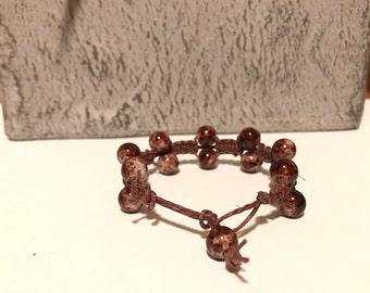 Boho Beaded Hemp Bracelet, Hemp Double Beaded Bracelet