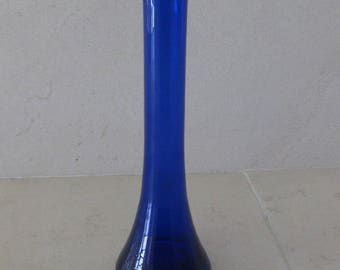 Cobalt blue glass single flower vase