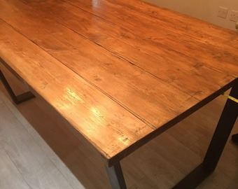 Industrial reclaimed dining table furniture. Steel reclaimed wood