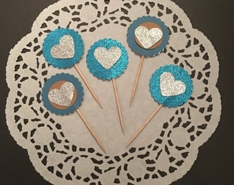 12 Blue Heart Cupcake Toppers