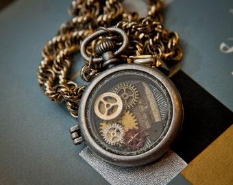 Steampunk Pocket Watch Necklace, clock face, gears, women's gift, vintage, antique