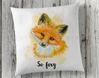 Fox Pillow, So Foxy Pillow, Woodland Pillow, Velvet Throw Pillow, Fox Decor, Decorative Pillow, Throw Pillow, New Home Gifts