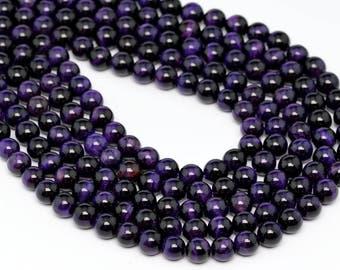 "8MM Purple Tiger Eye Natural Gemstone Round Shape Full Strand Loose Beads 15.5"" (100199-273)"