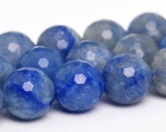 "10MM Faceted Blue Aventurine Natural Gemstone Half Strand Round Loose Beads 7.5"" (100904h-343)"