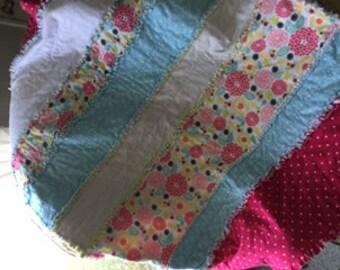 Baby Girl Flannel Rag Quilt / Blanket 48 X 40