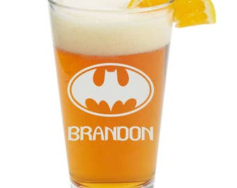 BATMAN- Personalized Glass- Themed Pint Glasses-Beer Glass
