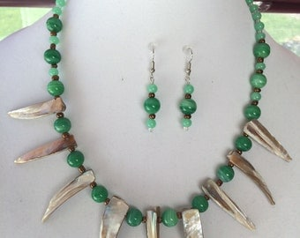 Green Tropical Necklace W/Earrings,unique,one of a kind,glass beads,shark look shell beads,beach ready,casual or dressy, ready for Summer