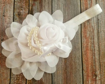 Over the Top Flower With Pearls Headbands, Baby Headband, Flower Headband, Elastic Headband