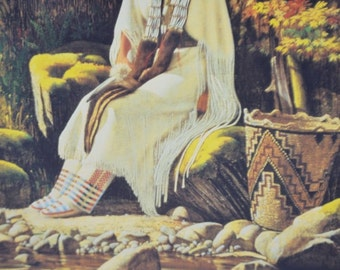 1988 Roger Cooke Native American Indian Print Indian Blessing 20 x 16