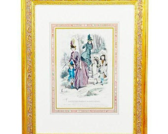 "Beautifully Framed and Matted Print of Paris 19th Century fashion color engraving ""Societe Des Journaux De Modes Reunis - 1887"""