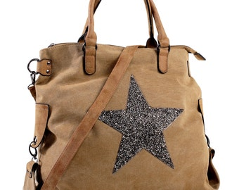 Shopping tote, bag sack star, Star tote bag, stars, bags, bag, canvas bag, bag mustard star, Khaki bag