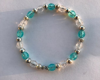 Blue and Clear Crystal Beaded Bracelet