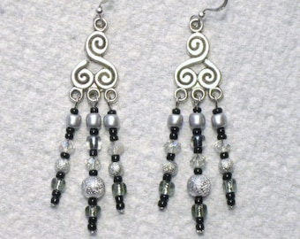Crystal AB Silver Stardust Black Seed Bead Chandelier Earrings, Silver Earrings, Long Dangle Earrings, Chandelier Earrings, Beaded Earrings