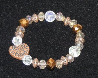 Copper Heart and Crystal Stretch Bracelet