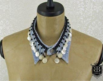 Collar collar denim Pearl mother of Pearl