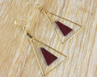 Triangle leather Burgundy and gold earrings