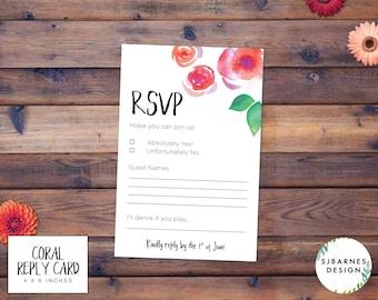 Printable Wedding Reply Card   Printable Wedding RSVP   Printable Wedding Reply Card   Floral Watercolor RSVP   Rustic Wedding   Coral Suite