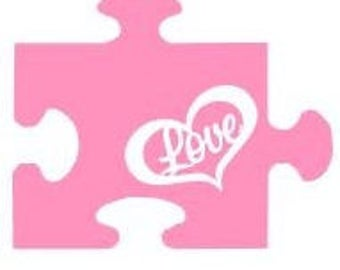 Autism - Puzzle piece w/ love & heart inside