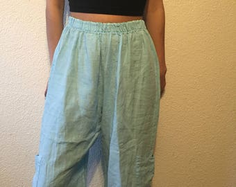 Azure Blue Washed Linen Pants