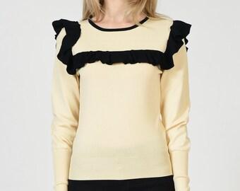 Ruffle Edge Sweater Top