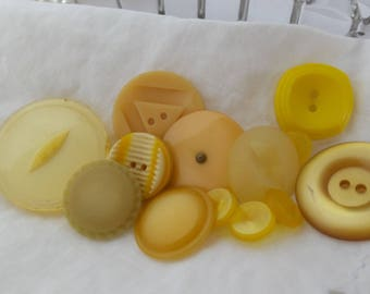Assortment of Vintage Yellow Plastic Buttons