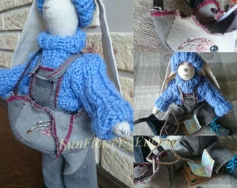 Art rag doll Nikolas. Angel for children.