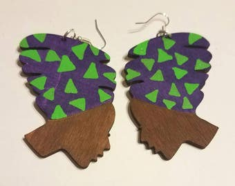 Purple and Lime Lady Headwrap