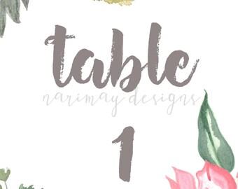 Vintage Floral Watercolor Table Numbers