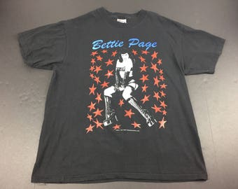 Vintage 1997 bettie page pinup t-shirt mens L 90's