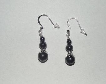 Black Hematite dangle earrings - silver plated