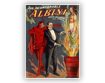 Magic Poster, The Incomparable Albini, Master Magician And Illusionist, Vintage Style Print, Retro Oddities And Curiosities