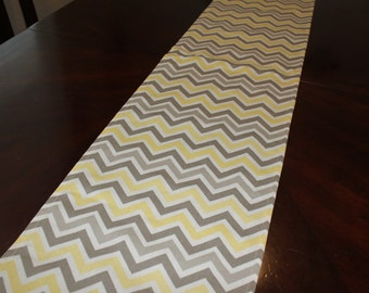 "Table runners Premier Prints zig-zag yellow, gray, natural colors 72"" x 12""."
